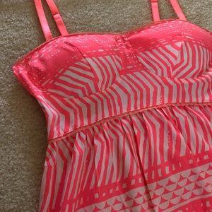 Pink Tribal-Print Roxy Skater Dress (Size S)